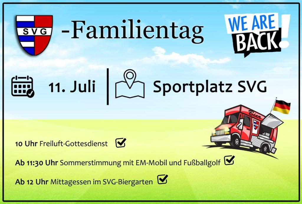 Alternativprogramm zum SVG-Sportwochenende: Der Familientag am 11.07.2021